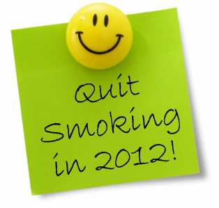 Post-it Note with message Quit Smoking in 2012