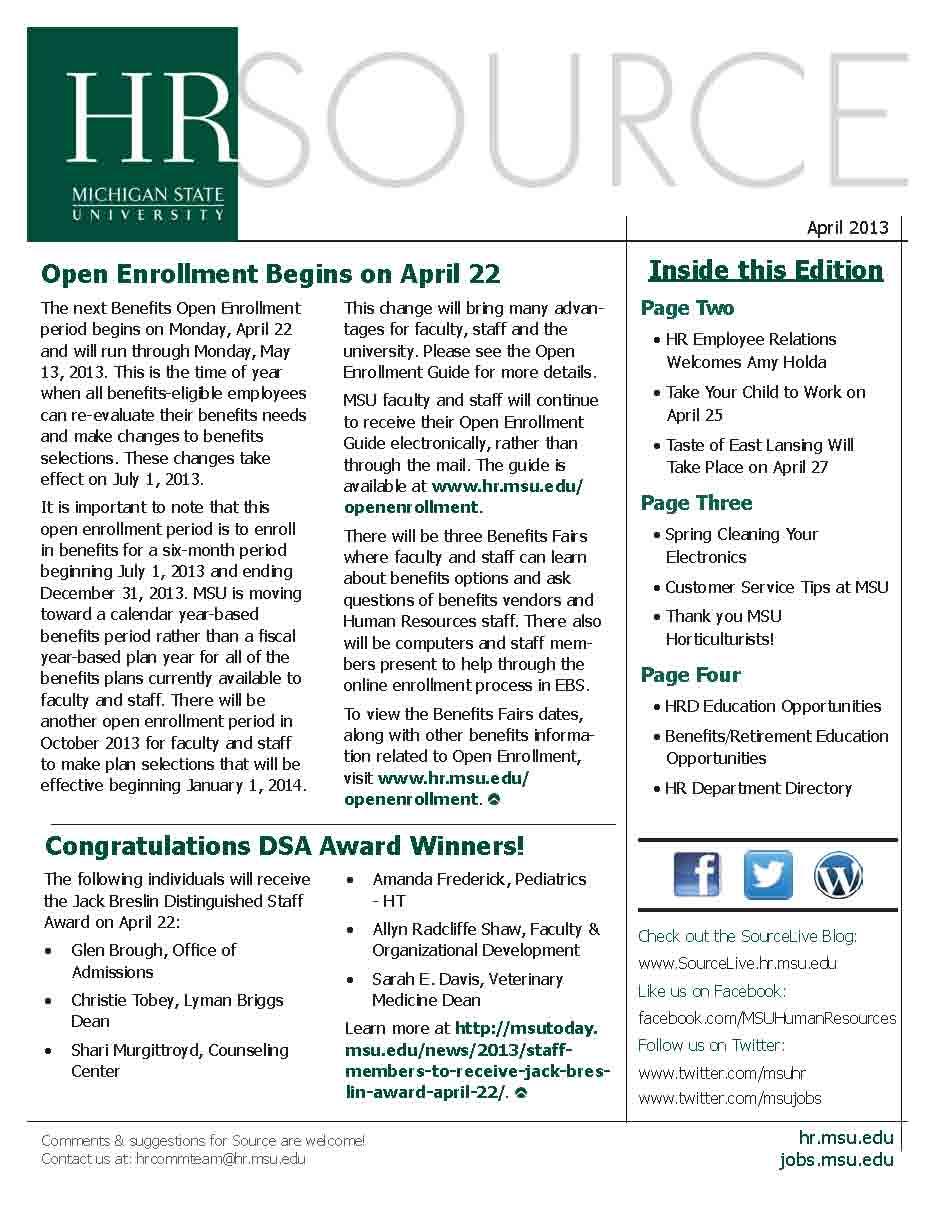 HR Source April 2013 Cover