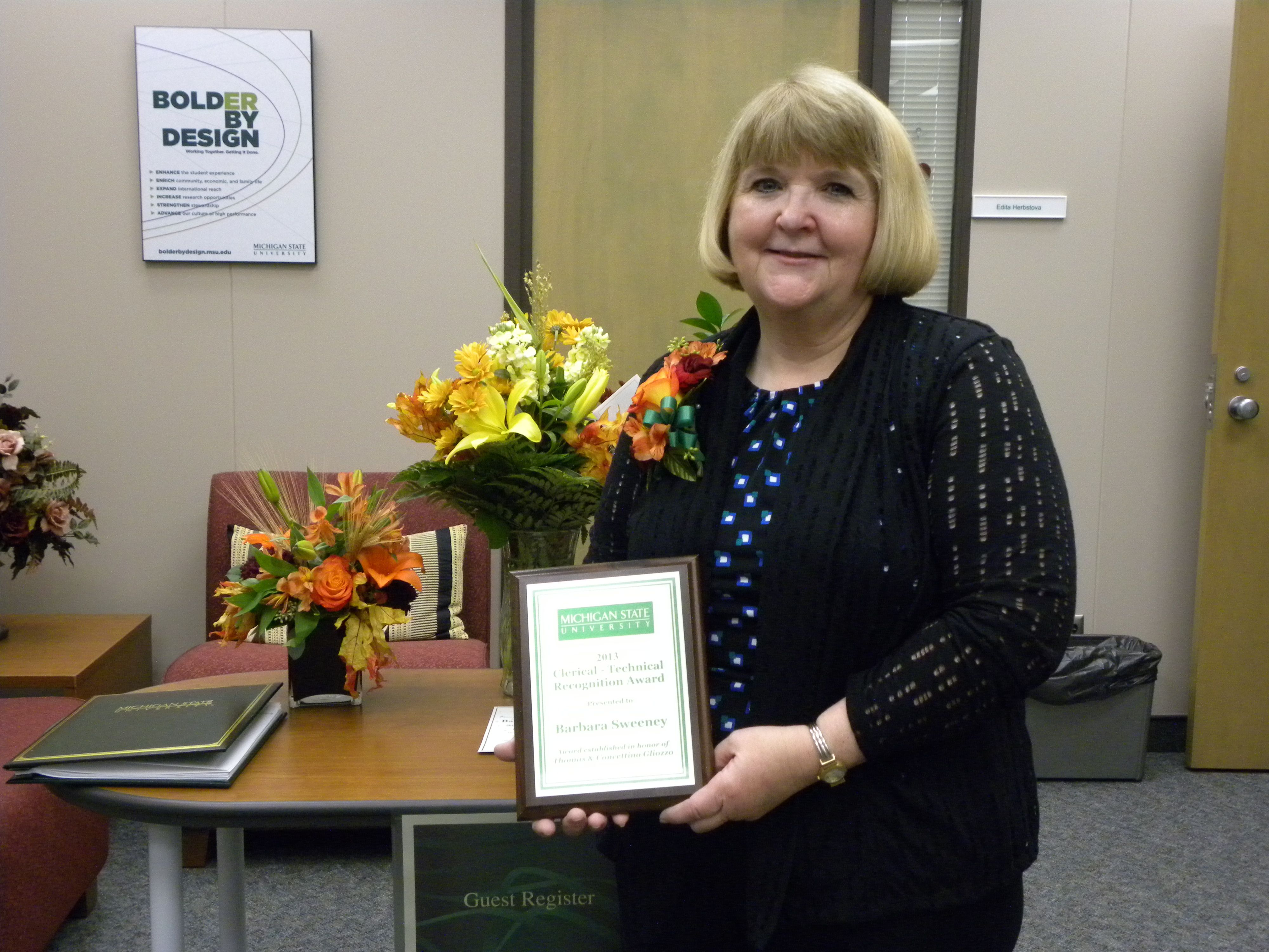 Barbara Sweeney is the winner of the annual Clerical-Technical Recognition Award. The award honors a clerical-technical support staff member for a strong work ethic and innovative thinking.
