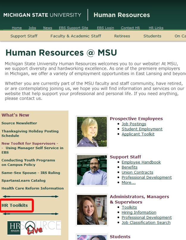 HR Website Screenshot