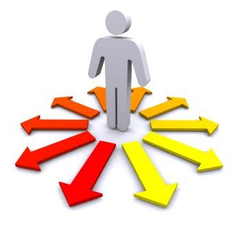 Person choosing a path