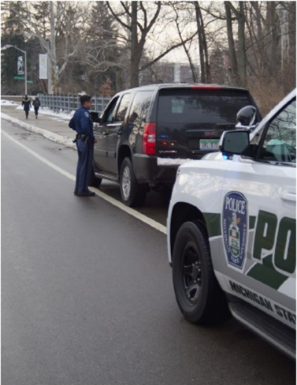 A police officer will always inform you of the reason for a traffic stop. Photo courtesy of MSU police.