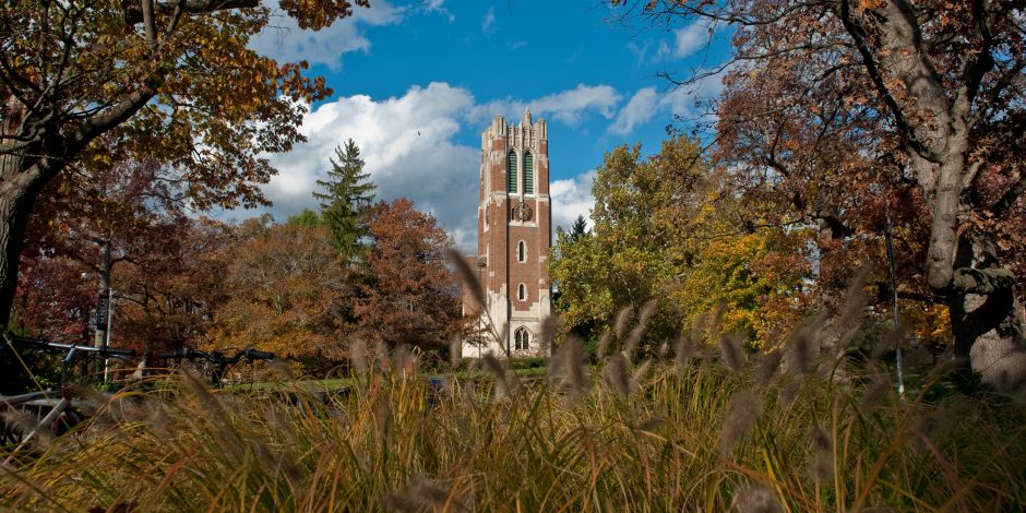 Photo of Beaumont Tower on campus during fall